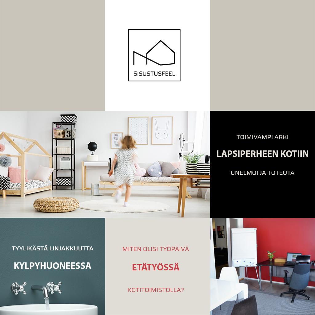 Kodit sivun kuva, sisustusfeel, Tyylikästä linjakkuutta kylpyhuonessa, Miten olisi työpäivä etätyössä kotitoimistolla? Toimivampi arki lapsiperheen kotiin - unelmoi ja toteuta!